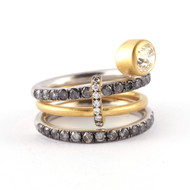 *TRUNK SHOW* Sylva & Cie. 18K Yellow and White Gold Old European Cut Diamond Limited Ring, Size 7