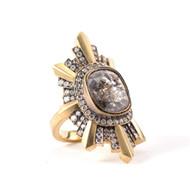 *TRUNK SHOW* Sylva & Cie. 18K Yellow Gold Rough Cut Diamond Stella Ring, Size 6 3/4