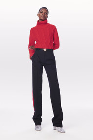 Victoria Beckham High Neck Cable Wool Jumper in Bright Red