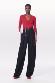 Victoria Beckham Fitted Rib Cardigan in Bright Red/Pink