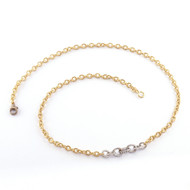 """Sylva & Cie. 18K White and Yellow Gold Two Tone Graduated Link Chain Necklace, 18"""""""