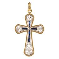 *PRE-ORDER* Sylva & Cie. 18K Yellow Gold Sapphire and Diamond Cross Pendant