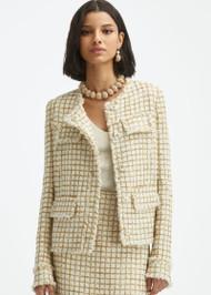 Oscar de la Renta Lurex Tweed Jacket in Ivory/Gold