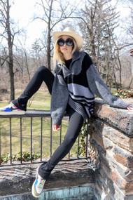 *PRE-ORDER* Augustina Cashmere Rosina Sweater in Black Gray Mix