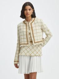 Oscar de la Renta Lurex Tweed Windowpane Jacket in Ivory/Gold