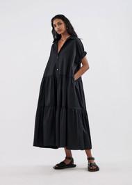 *COMING SOON* CO Short Sleeve Tiered Dress in Cotton Poplin in Black