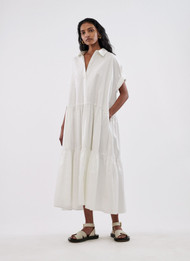 *COMING SOON* CO Short Sleeve Tiered Dress in Cotton Poplin in White