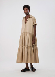 *COMING SOON* CO Short Sleeve Tiered Dress in Cotton Poplin in Taupe
