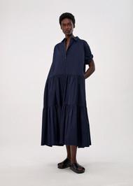 *COMING SOON* CO Short Sleeve Tiered Dress in Cotton Poplin in Navy