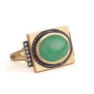 *PRE-ORDER* Sylva & Cie. 18K Yellow Gold Jade, Sapphire and Diamond Renee Ring