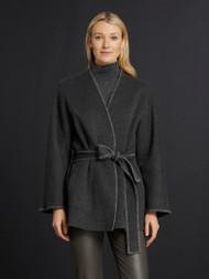 Lafayette 148 New York Reversible Joella Cashmere Coat in Graphite Melange