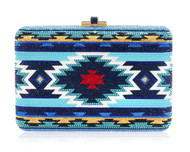 *PRE-ORDER   SPRING '22* Judith Leiber Couture Turquoise Geometric Slim Slide Novelty Clutch