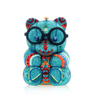 *PRE-ORDER   SPRING '22* Judith Leiber Couture Turquoise Teddy Bear Novelty Clutch