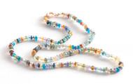 *COMING SOON* Sylva & Cie. 14K Rose Gold Rainbow Multi Stone Bead Necklace
