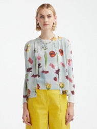 *PRE-ORDER* Oscar de la Renta Floral Sky Printed Cardigan in Topaz Multi