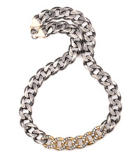 """*COMING SOON* Sylva & Cie. 18K Yellow Gold and Sterling Silver Thick Link Necklace, 19"""""""