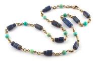 "*COMING SOON* Sylva & Cie. 18K Yellow Gold Lapis and Peruvian Opal Bead Necklace, 22"""