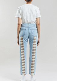 Still Here Wool Gingham Tate Crop Jeans in Vintage Blue