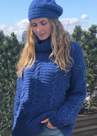 *PRE-ORDER* Augustina Cashmere Corey Cable Sweater in Electric Blue Mix