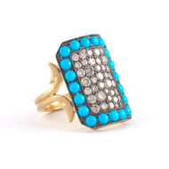 *PRE-ORDER* Sylva & Cie. 18K Yellow Gold and Sterling Silver Oxidized Short Turquoise and Grey Diamond Ten Table Ring