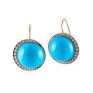 *PRE-ORDER* Sylva & Cie. 18K Yellow Gold Turquoise Moon Earrings