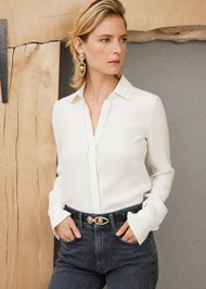 *PRE-ORDER* Lafayette 148 New York Esther Blouse in Silk Double Georgette in Cloud (Plus)