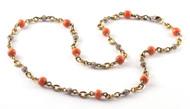 *PRE-ORDER* Sylva & Cie. 18K Yellow Gold Vintage Coral & White Diamond Bead Necklace