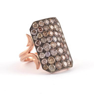 *PRE-ORDER* Sylva & Cie. 14K Rose Gold and Sterling Silver Oxidized Champagne Diamond Short Ten Table Ring, Size 7 1/4