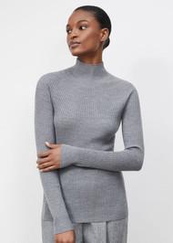 *PRE-ORDER* Lafayette 148 New York Merino Kindwool Mixed Rib Stand Collar Sweater in Nickel Melange (Petite)