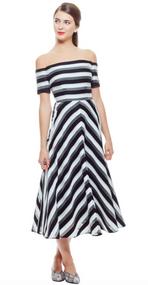 Lela Rose Organza Striped Off-The-Shoulder Dress