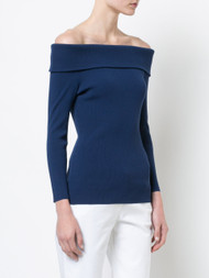 Michael Kors Sapphire Stretch Off-the-Shoulder Sweater