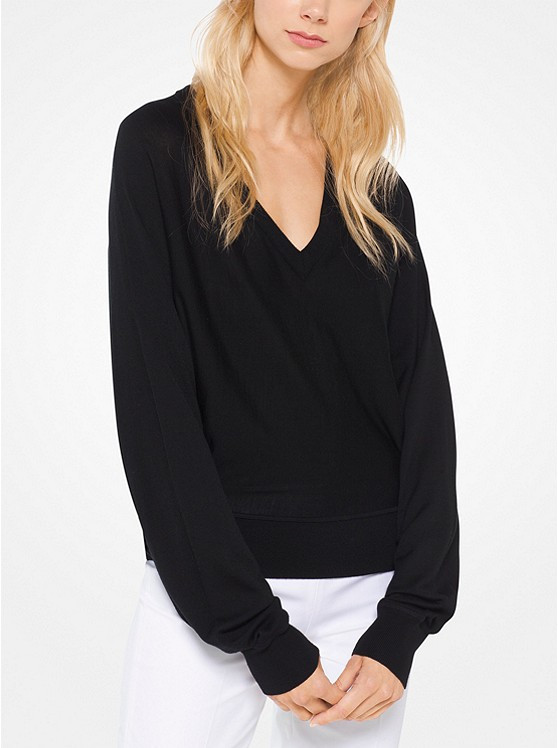 2ae492157b0 Home · Collections  Michael Kors Black V-Neck Pullover. Image 1