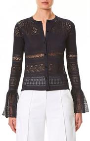 Carolina Herrera Crochet Lace Ruffle-Cuff Cardigan