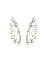 Oscar de la Renta Crystal Deco Fan Earrings