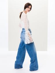 Oscar de la Renta Abstract Cotton Lace Bell Sleeve Blouse
