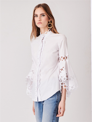 Oscar de la Renta Cotton Poplin Asymmetrical Sleeve Blouse
