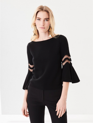 Oscar de la Renta Black Flutter-Sleeve Pullover