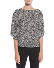 Michael Kors Mini Floral-Print Boat-Neck Top