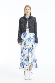 Adam Lippes Floral Hammered Silk Wrap Midi Skirt with Ruffle Trim