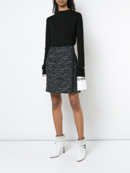 Adam Lippes Merino Wool Crewneck Sweater with Detachable Embroidered Cuff