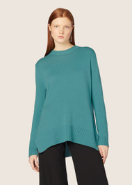 Derek Lam Long-Sleeve Crewneck Sweater with Godet Inserts