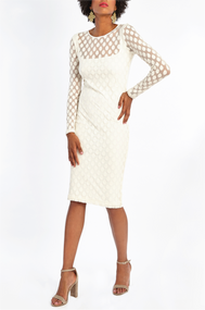 Fuzzi White Polka-Dot Long Sleeve Dress