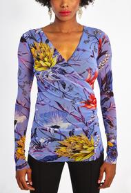 Fuzzi Floral Pattern Long Sleeve V-Neck Top