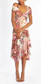 Fuzzi Cross Stitch Patterned Cold-Shoulder Dress