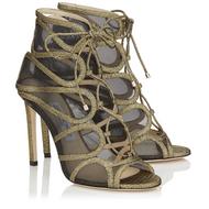 Jimmy Choo Malena Gold Mini Crackled Leather and Techno Raffia Sandal