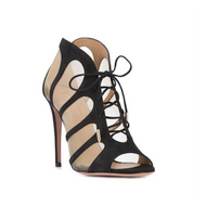Aquazzura Elia Lace-Up Mesh Cut-Out Sandal