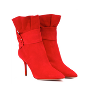 Aquazzura Palace Carnation Red Suede Bootie with Side Buckle