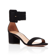 Aquazzura Casablanca Black Suede Sandal with Chunky Heel and Ankle Strap