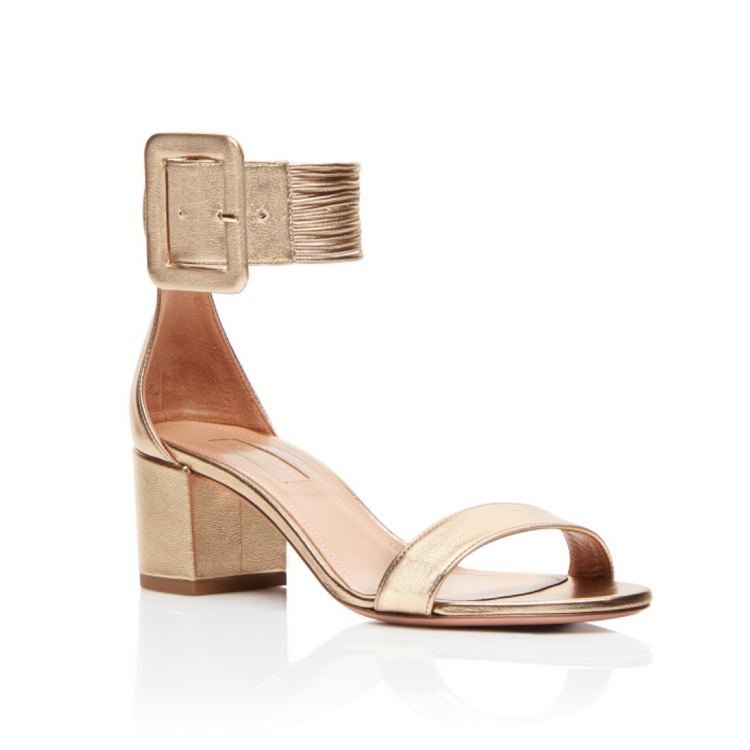 b5ed010ad Aquazzura Casablanca Gold Leather Sandal with Chunky Heel and Ankle ...