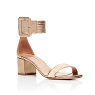 Aquazzura Casablanca Gold Leather Sandal with Chunky Heel and Ankle Strap